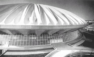 Photo of Assembly Hall at the University of Illinois, the first concrete domed sport structure, which was completed in 1963.