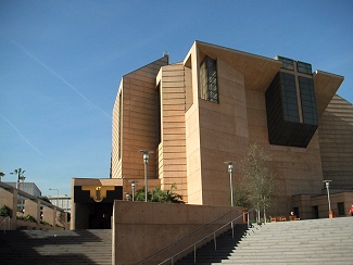 Our Lady of the Angels Cathedral in Los Angeles California is the third largest cathedral in the world and the first to be built in the US in over a quarter century.  The massive 70-foot cross behind the alter is made entirely of concrete.